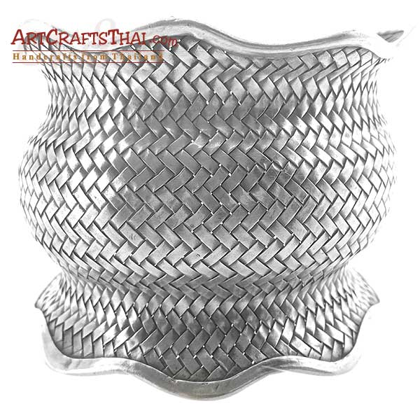 Fine Woven Silver Antiqued Cuff Bangle_1