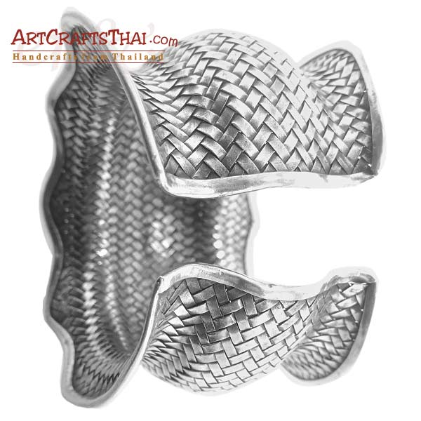 Fine Woven Silver Antiqued Cuff Bangle_2