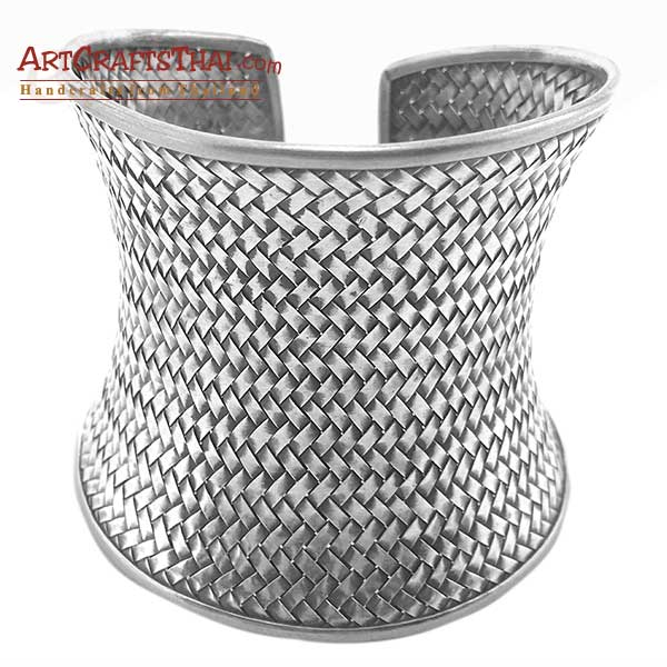 2.5 Inch Ethnic Silver Cuff Bangle Concave Antiqued_1