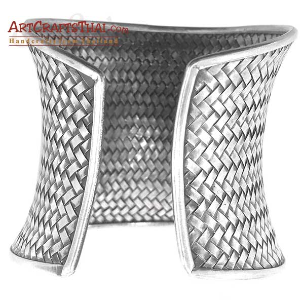2.5 Inch Ethnic Silver Cuff Bangle Concave Antiqued_2