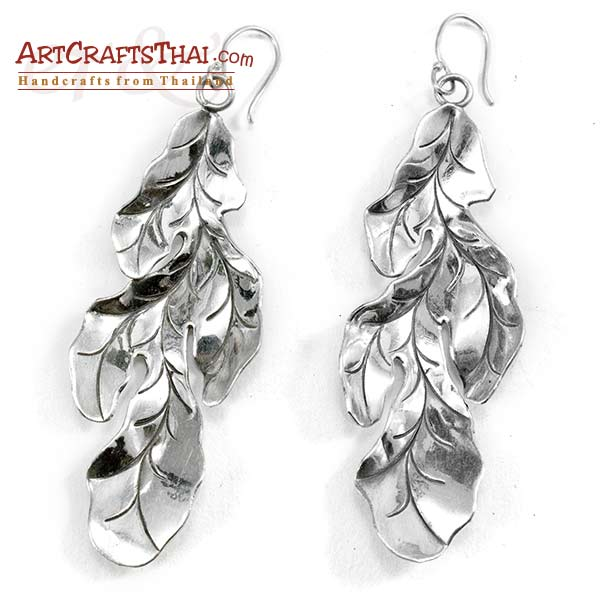 3 inch Silver Leaf Drop Earrings_2