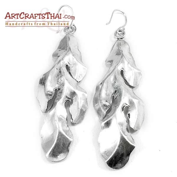 3 inch Silver Leaf Drop Earrings_3