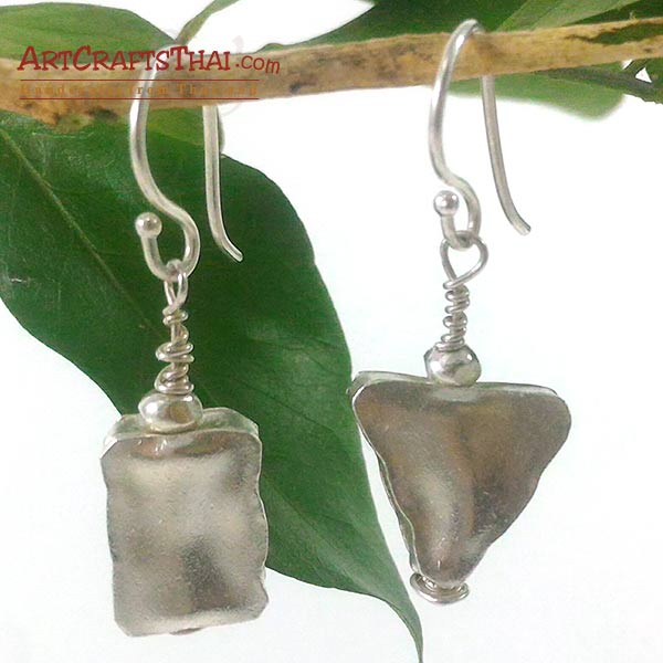 Handmade Triangle and Rectangle Silver Earrings_1