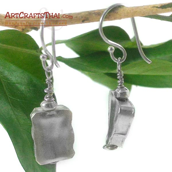 Handmade Triangle and Rectangle Silver Earrings_2