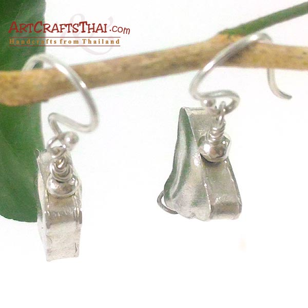 Handmade Triangle and Rectangle Silver Earrings_4