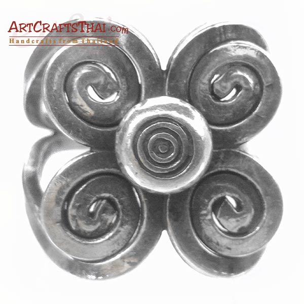 Flower Swirl Silver Ring_1