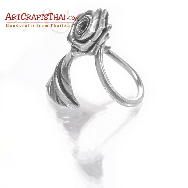 Flower and Leaf Vine Silver Ring_2