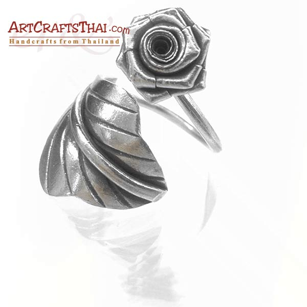 Flower and Leaf Vine Silver Ring_3