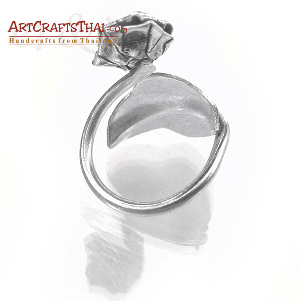 Flower and Leaf Vine Silver Ring_4
