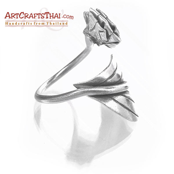 Flower and Leaf Vine Silver Ring_5