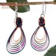 Handmade Colorful Bamboo Loop Earring and Silver Earwire