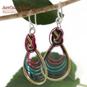 Handcrafted Earrings Bamboo Colored Loop with Silver Earwires
