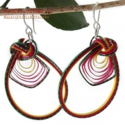 Bamboo Drop Loop Earrings and Sterling Silver Earwires
