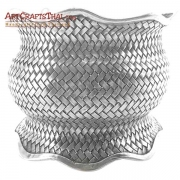 Fine Woven Silver Antiqued Cuff Bangle