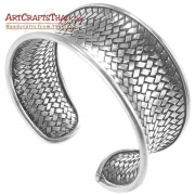 Woven Silver Hilltribe Bangle