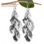 3 inch Silver Leaf Drop Earrings