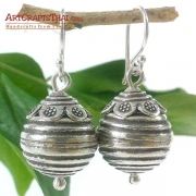 Round Etched Ball With Daisy Stamped Cap Silver Earrings